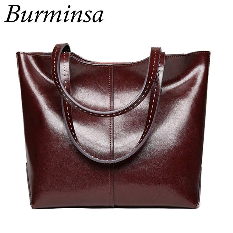 Burminsa 대용량 여성 정품 가죽 핸드백 레트로 오일 왁스 토트 쇼핑 가방 큰 여성 숄더 가방 새로운 도착 2019-에서숄더 백부터 수화물 & 가방 의  그룹 1