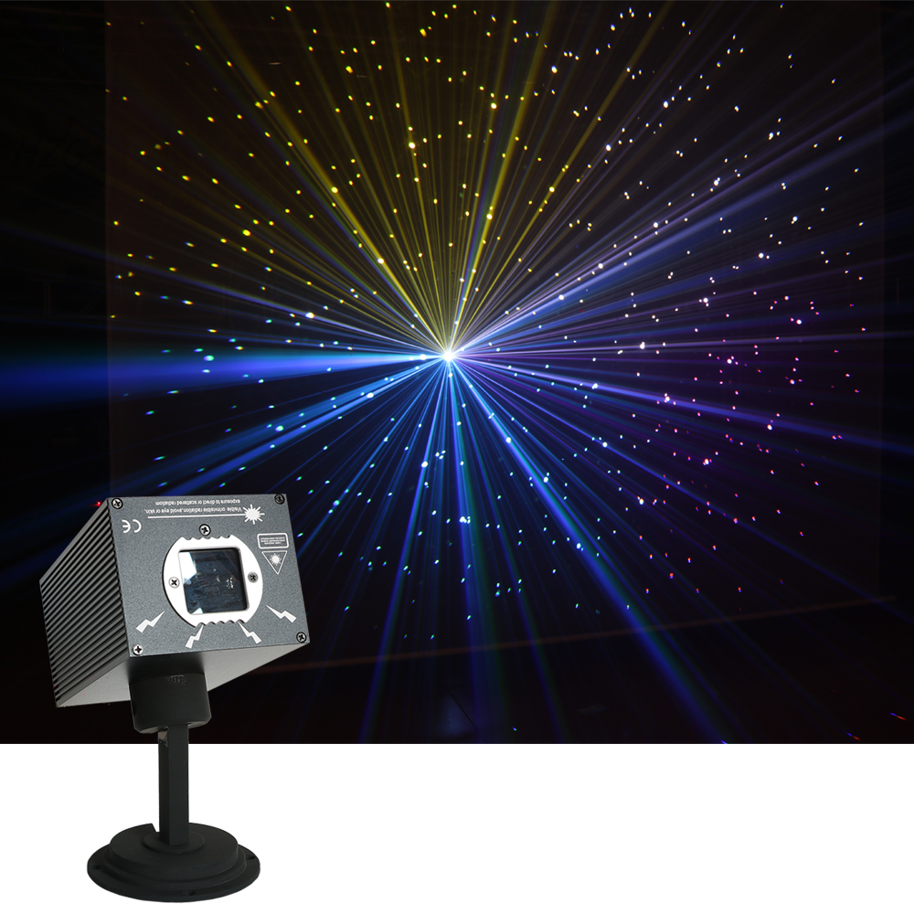 Sharelife Mini 500mw DJ RGB Meteor Storm Laser Projector Light DMX DJ Home Party Show Gig Stage Lighting Twinkling Star Effect
