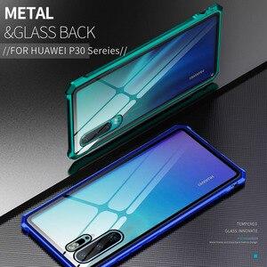 Противоударный бампер, металлический бронированный Прозрачный чехол для телефона Huawei Nova 4 4E P30 Pro Lite, Металлический Алюминиевый Чехол, прозр...