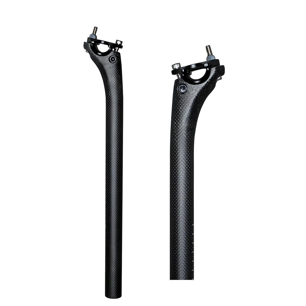 Carbon Fiber MTB Road Bike Seatpost 25.4//27.2//30.8//31.6*350//400mm Black UD Matte