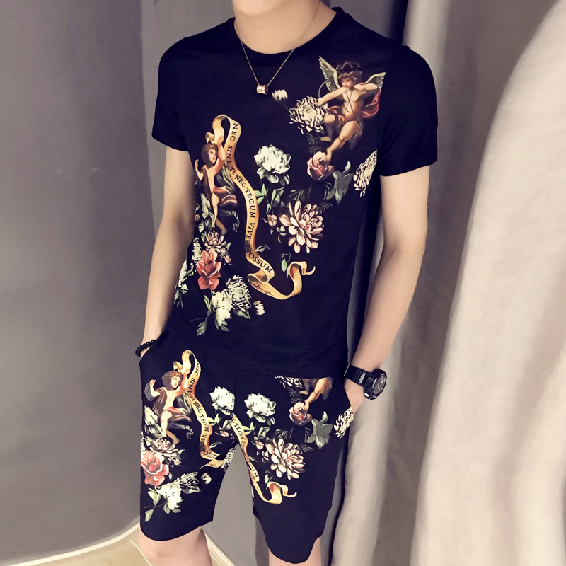 Summer Casual T-shirt + Shorts Two-piece Sportswear Summer Tracksuit For Men 2020 Spring T-shirt Set Print Trainingspak Heren