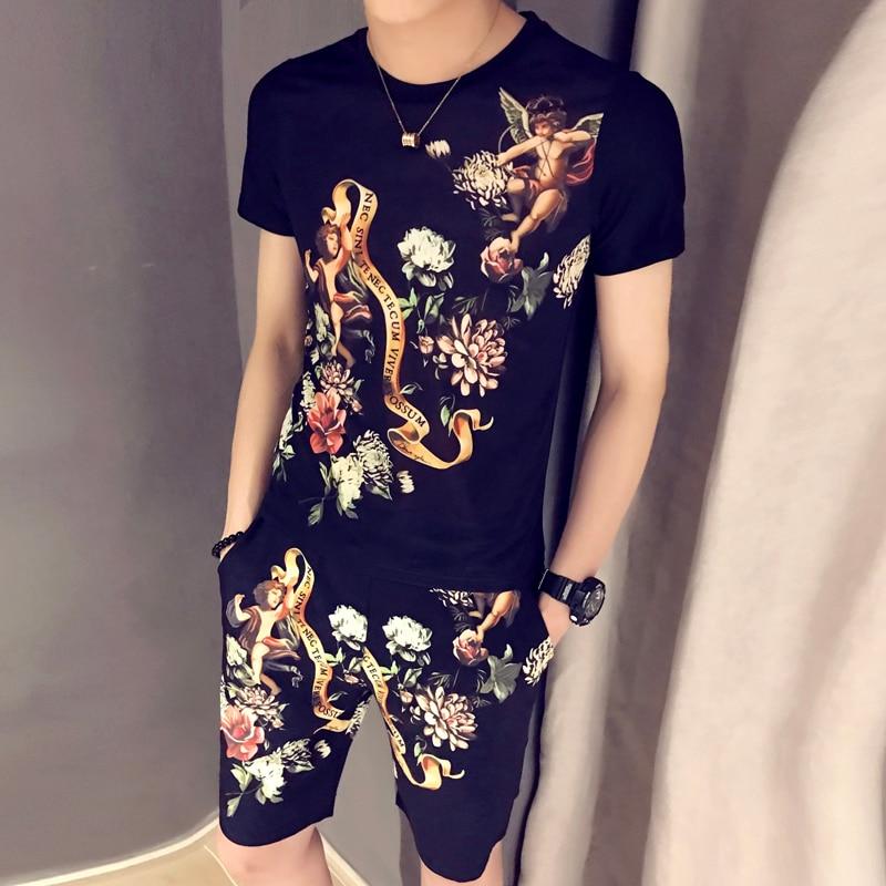 Summer Casual T-shirt + Shorts Two-piece Sportswear Summer Tracksuit For Men 2020 Spring T-shirt Set Print Trainingspak Heren