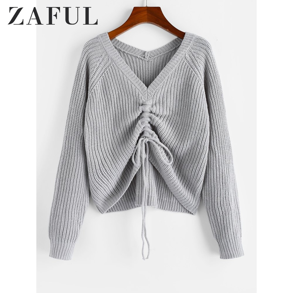 ZAFUL V Neck Shirred Ribbed High Low Sweater Shirred Sweater Solid Elastic Full Sleeve 2020 Casual Daily Women Pullover Sweater
