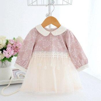 Wholesale 5pcs/lot Baby Girl Dress Newborn Tassel Peter Pan Collar Princess Dress Lace Baptism Vestido Infantil Tulle Dresses