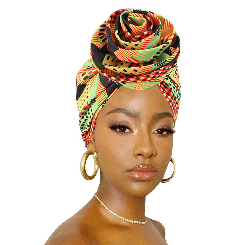2020 neue Afrikanische Gedruckt Turban Bandanas Große Blume Ankara Dashiki Frauen Party Hochzeit Headwear Kopf abdeckung Haar Zubehör