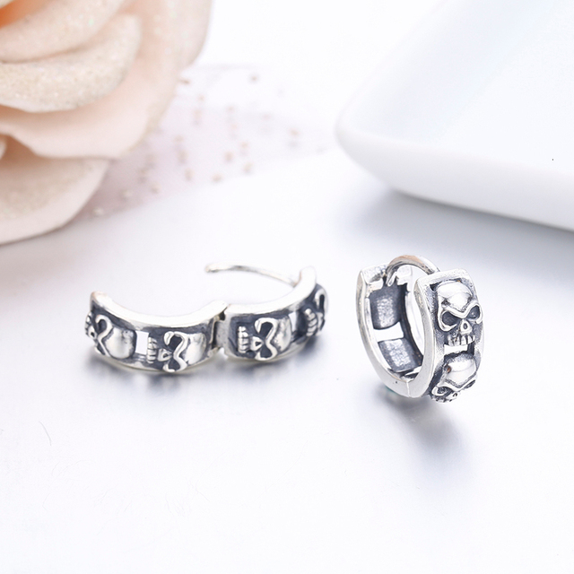 ORIGINAL 925 STERLING SILVER SKULL EARRINGS