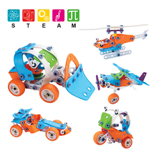 Creative Car Building Blocks DIY Helicopter Moto Model Plastic Puzzle Brick Blocks Educational Toys For Boy Kids Gifts