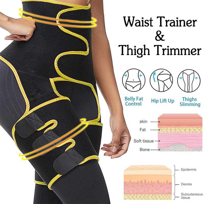 Neoprene Slim Thigh Shaper Waist Trainer Cincher 3 In 1 Waist Trimmer Wrap Belt