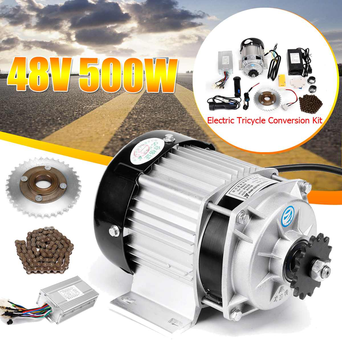 500W 48V DC Motor Electric Tricycle Motor Engine For E-Trishaw Go Kart Scooter Mid Drive Wheel Motors Controller Flywheel Chain image