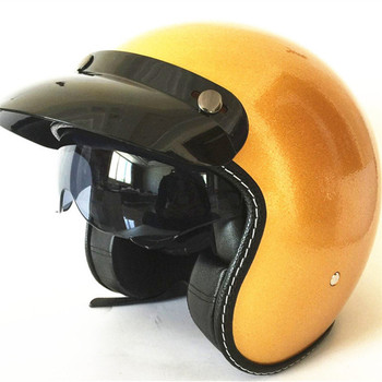 Hot Sale Wanli Brand Casque Gold Capacete Motorcycle Helmet Vintage Helmet High Quality 3 4 Open Face Scooter Helmets Dot Xs Leather Bag