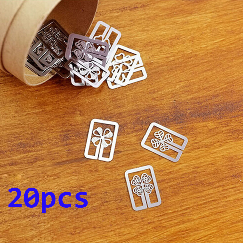 20pcs/lot Mini Metal Bookmark Clips Cute Cartoon Animal Plated Sliver Bookmarks Stationery Gift Book Line Marker Random Style