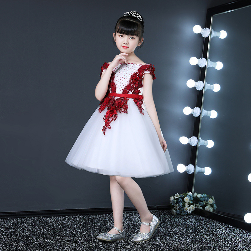 CHILDREN'S Piano Costume White Birthday Princess Dress Dresses Of Bride Fellow Kids Puffy Yarn Girls Small Host Late Formal Dres
