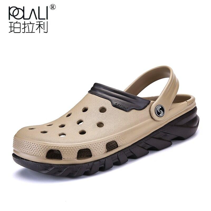 Hommes Croc chaussures décontracté sans lacet sabots 2018 nouvel été creux-out eau sandales respirant & léger pantoufles tongs grande taille 38-46