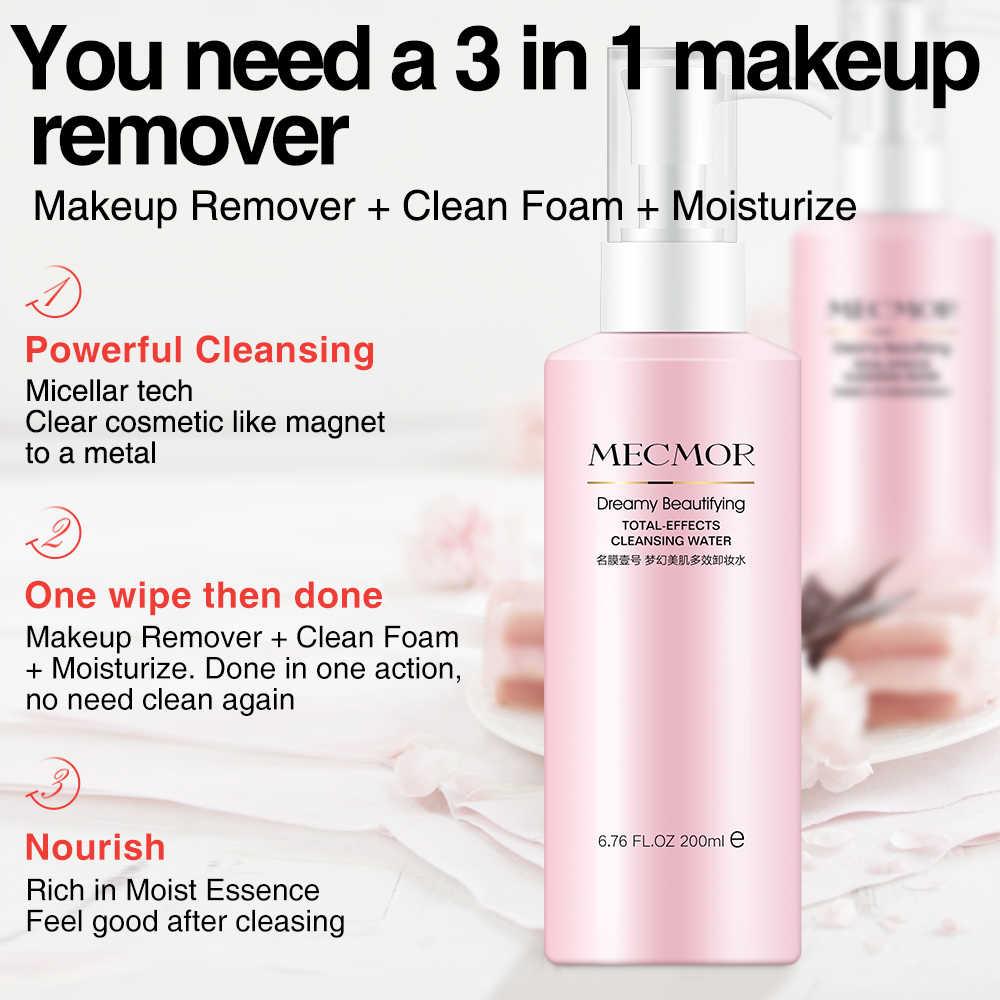 Sonhador removedor de maquiagem facial limpador de espuma hidratante 3in1 mecmor natural aditivo orgânico livre de álcool água de limpeza