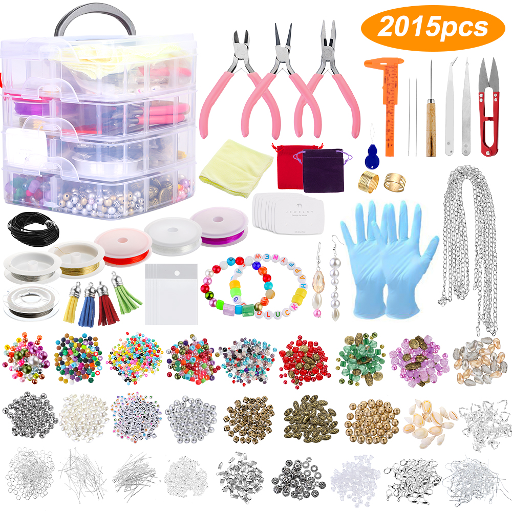 2015Pcs/Set DIY Jewelry Making Supplies Kit Jewelry Beads And Charms Findings Jewelry Making Tools Kit Gift