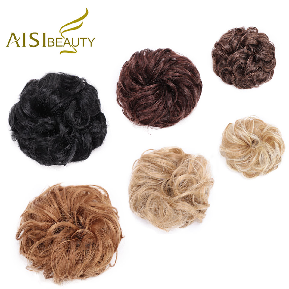 AISI BEAUTY Synthetic Chignon Hair Extension Curly Messy Bun Hair Scrunchies Elegant Chignons Wedding Hair Piece For Women Kids