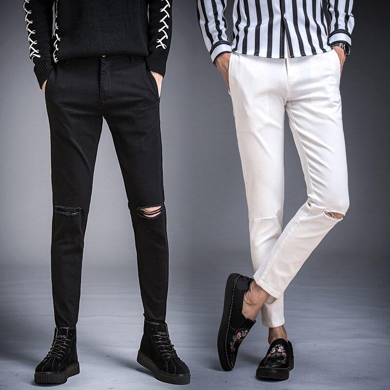 Capri Pants MEN'S Jeans Slim Fit Pants Korean-style 2018 Autumn New Style Washing With Holes Trend Versatile 9 Points Pants