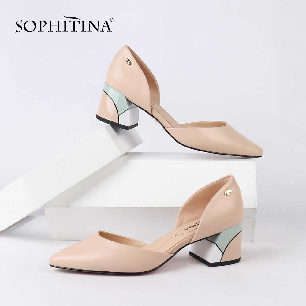 SOPHITINA Handmade Spring Pumps Design Hot Sale Mixed Colored Square Heel Pumps High Quality Genuine Leather Shoes Woman MC162
