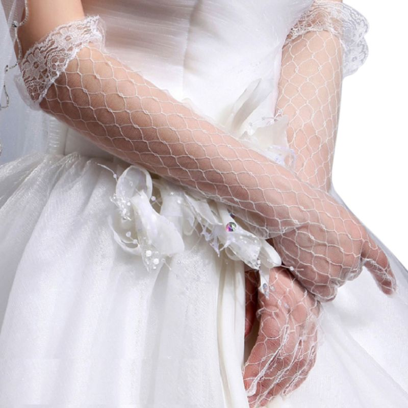 Womens White Stretchy Elbow Length Bridal Wedding Long Gloves Full Finger Rhombic Mesh Floral Lace Trim See Through Prom Party