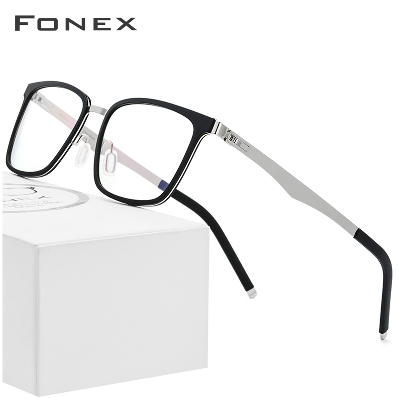 FONEX TR90 Glasses Frame Men Square Prescription Eyeglasses 2019 New Myopia Optical Frames Spectacles Women Screwless Eyewear