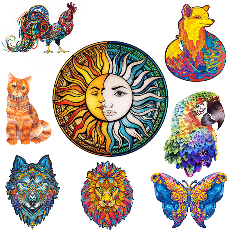 Wood Toy Diy Jigsaw Puzzle Games Animal Unique Mysterious Wolf Puzzles Gift For Adults Kids Educational Toy Interactive