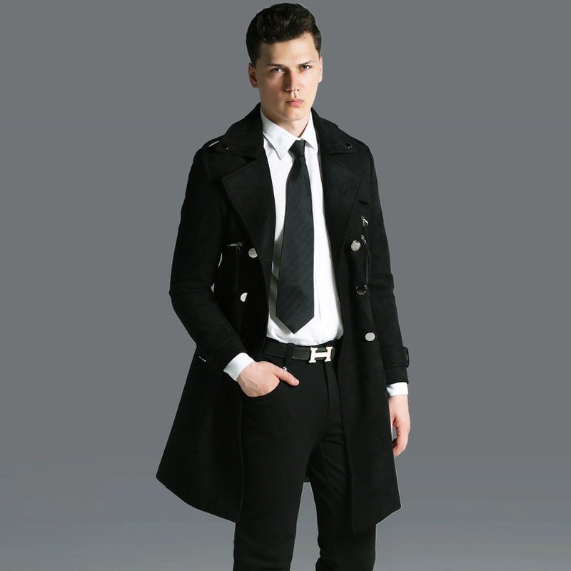 OLN Long Mens Coat Luxury Suede Fabric Double Breasted Mens Jackets And Coats Plus Size 6xl Fashion Solid Coloar Man   Trench