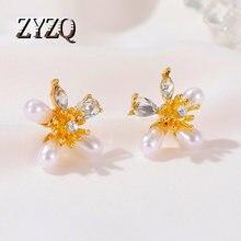 ZYZQ barok İmitasyon İnci çiçek kristal saplama küpeler kadınlar kore düğün parti küpe 2020 yeni yaz aksesuarları