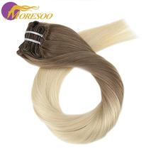 Moresoo Clip in Hair Extension Full Head Ombre Color 7PCS 100g 16-24inch Machine Remy 100% Real Human Hair