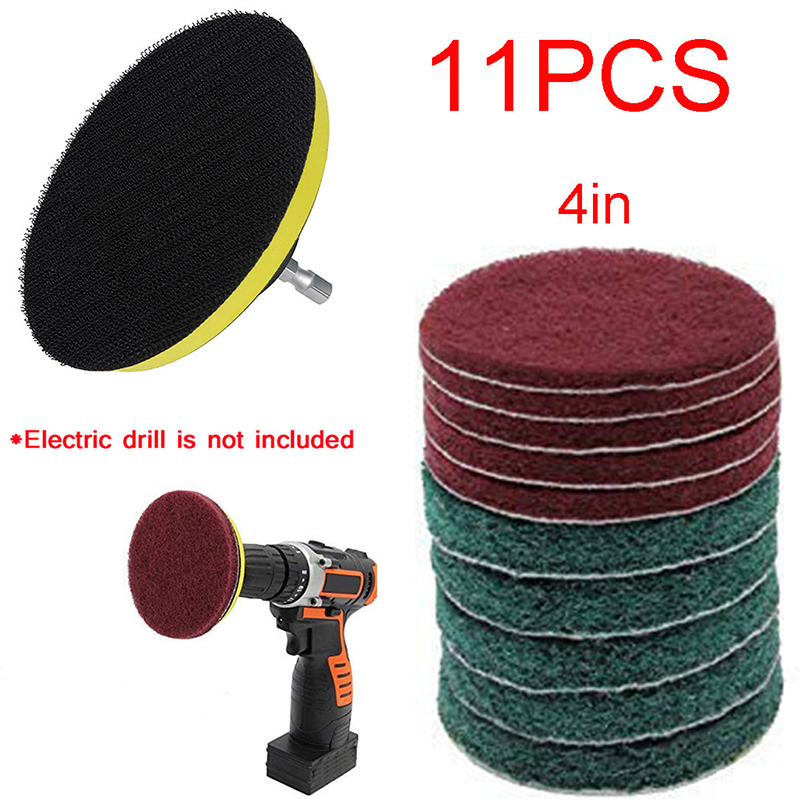 11pcs/Set Cleaning Kit Scouring Pad 100mm M10 Thread 1/4