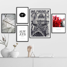 Fashion Paris Maple Leaf Lips Wall Art Print Canvas Painting Nordic Poster And Prints Pictures For Living Room Decor