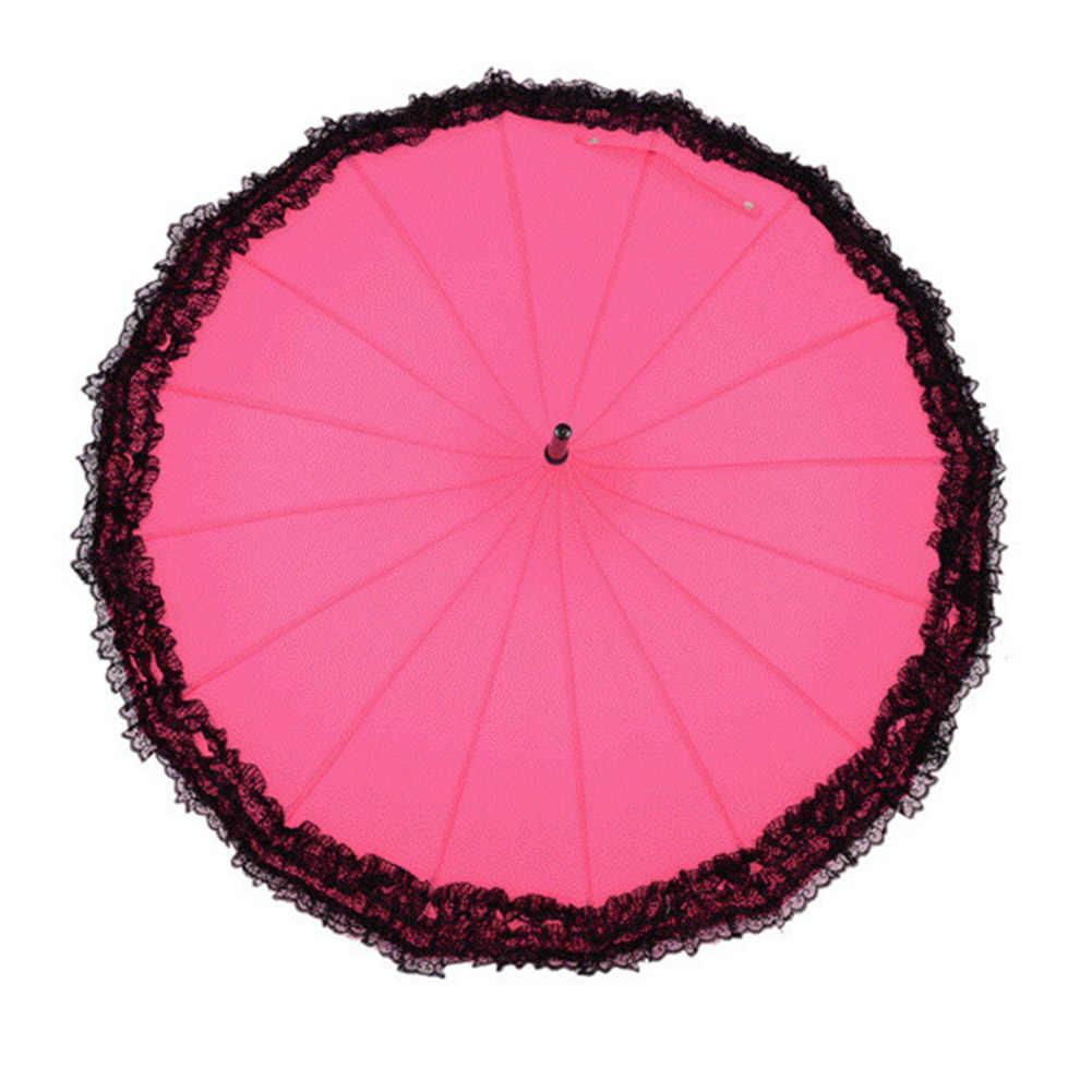 Новинка длинная ручка ветрозащитный зонт от солнца и дождя использовать 16 ребра кружева дизайн пагода Тип элегантный ENA88