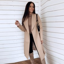 Thin Wool Blend Coat Women Long Cardigan Coat Long Sleeve Ha