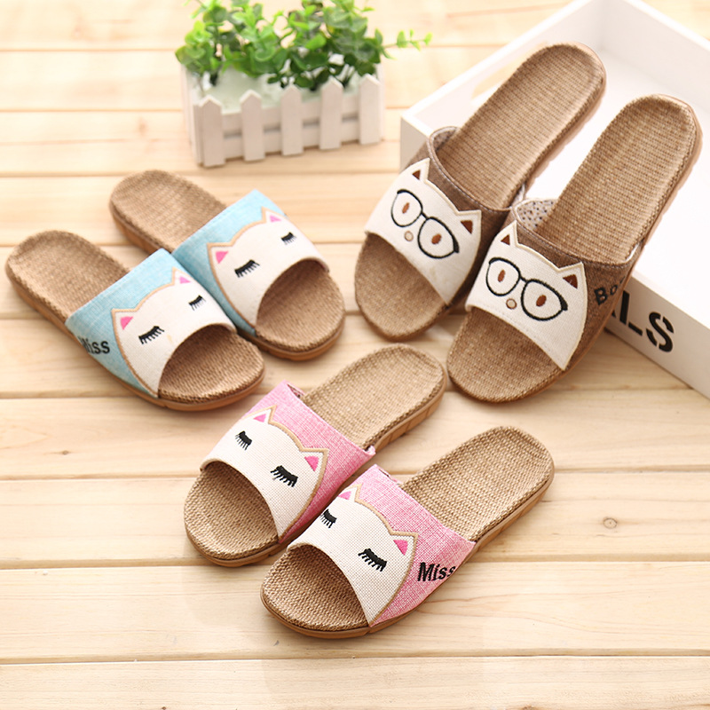 Flax Slippers 2020 Cute Cat Women Summer House Shoes Men Breathable Slides Ladies Indoor Linen Slippers Beach Female Sandals