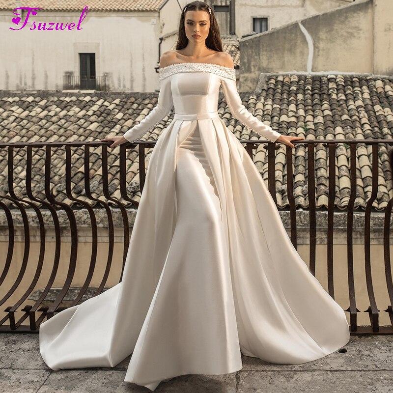 Fsuzwel Luxury Beaded Boat Neck Lace Up Mermaid Wedding Dress 2020 Elegant Long Sleeve Satin Detachable Train Vintage Bride Gown