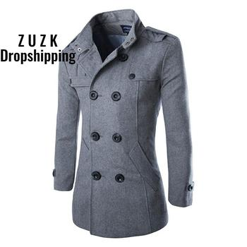 ZUZK Autumn Winter New Good Quality Men's Wool Blends Trench Men's Double Breasted Slim Fit Dust Coat Wind Coat brand children s clothing in the big girl wool coat autumn and winter children s long section of the red double breasted trench