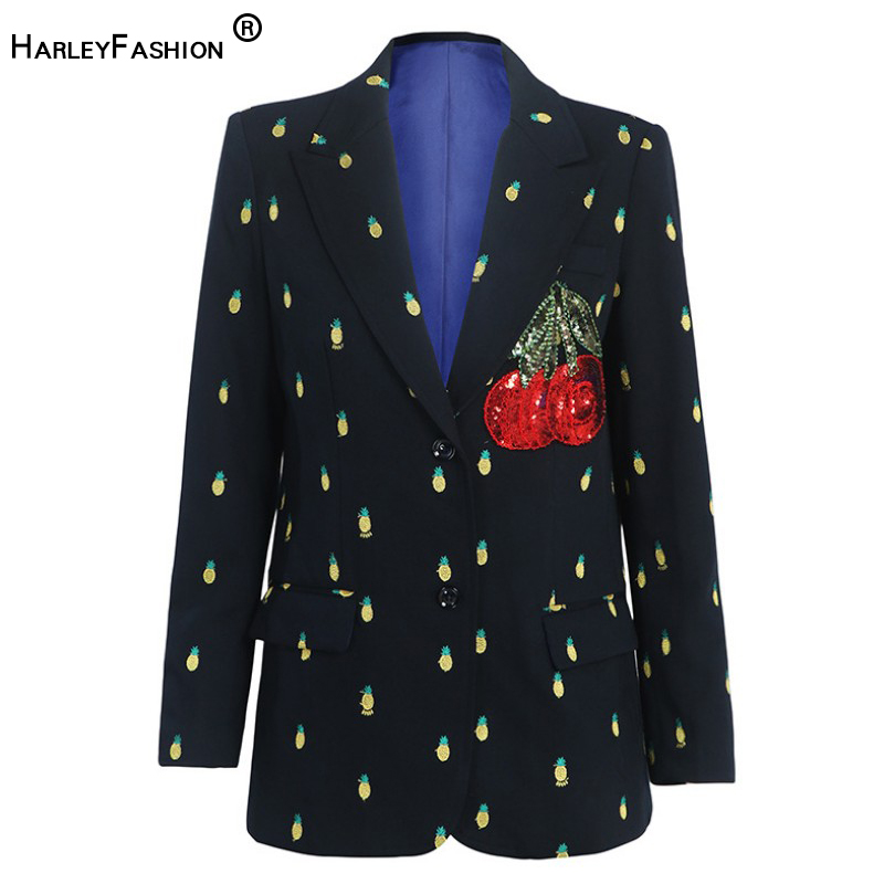HarleyFashion Luxury Design Celebrity Women Elegant Fashion Jackets Fruit Embroidery Cherry Sequined Blazer High Quality