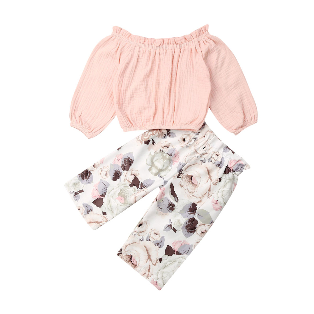 2Pcs Baby Girls Floral Tops Long Sleeve Shirts Trousers Toddler Casual Outfits