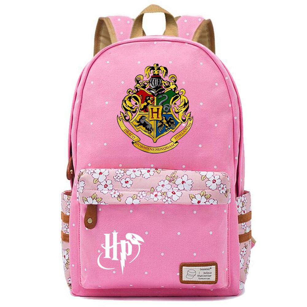 Image 2 - F0304 Magic Hogwarts School Logo Prints Children Schoolbag Girls School bag Women Bagpack Teenagers Canvas Lady Femme BackpackBackpacks   -