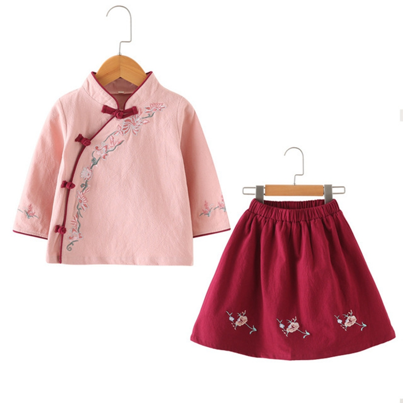 Spring And Autumn National Embroidered Wind Kids Girls Hanfu Set Girls Cheongsam Dresses Baby Chinese Tang Suit детская одежда