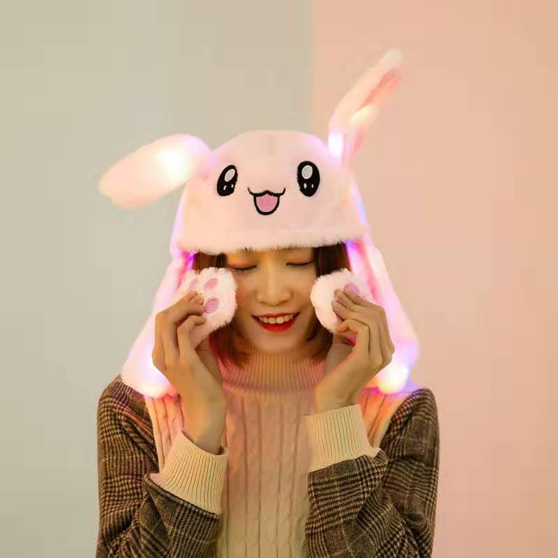 40 Colors Luminescent Cute Rabbit / Pikachu Hat Funny Air Float Filling Ear Moving Cap Cartoon Plush Stuffed Toys Christmas Toy