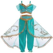 Girls Dress Arabian Princess Costume Kids Birthday Party Christmas Children Fantasy Dress Jasmine Cosplay Costume 3-10 Years