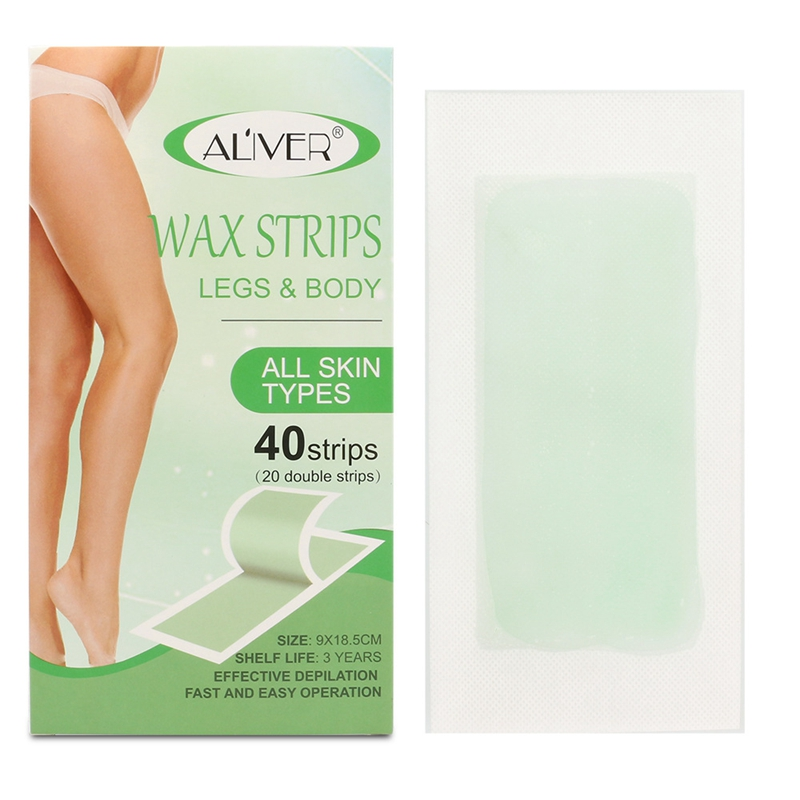 ELAIMEI 40Pcs/Set Hair Removal Wax Strips Papers Epilator Wax Strip Double Sided Depilation Uprooted Silky