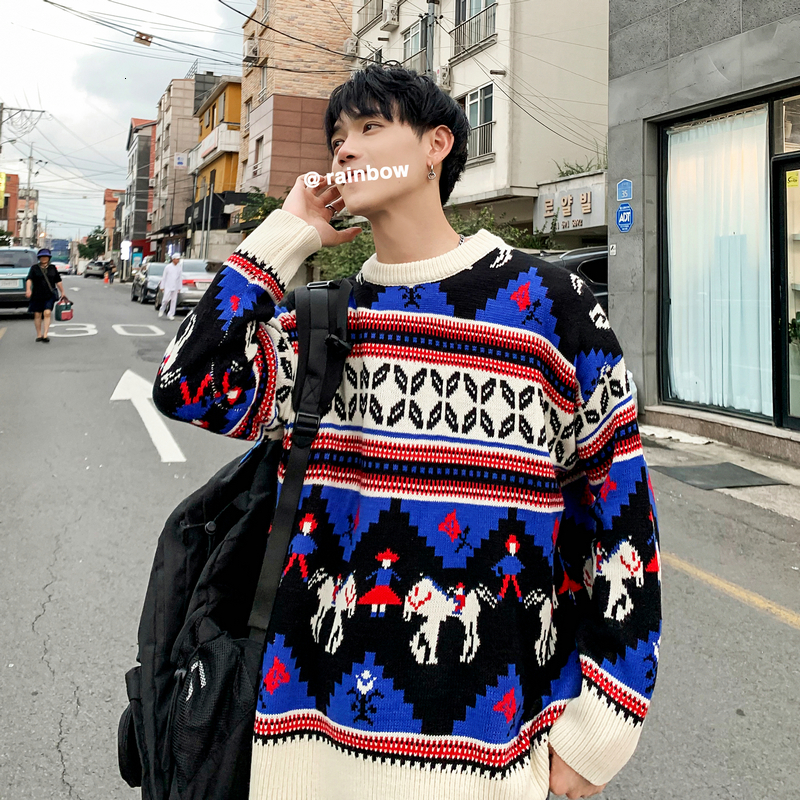 Winter O-neck Thick Sweater Men's Warm Fashion Casual Retro Knit Pullover Men Streetwear Knitting Sweaters Male Sweter Clothes