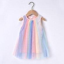 Одежда для малышей Летняя одежда для девочек разноцветное платье с пачкой из сетки для девочек платье с короткими рукавами в радужную плать...