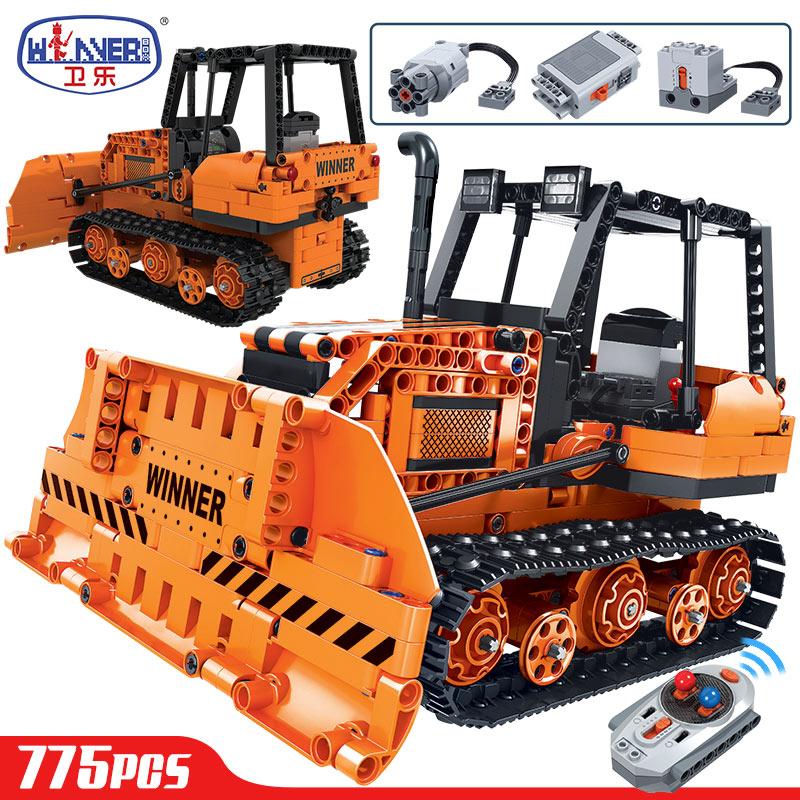 erbo 775 pcs tecnica de controle remoto engenharia caminhao blocos construcao cidade rc bulldozer carro tijolos