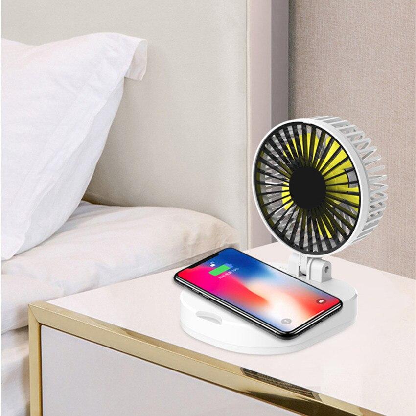 Chargeur sans fil multifonction Qi avec batterie externe pour Xiao mi mi 9 8 iPhone8 chargeur Portable pliable ventilateur de bureau Portable mi ni