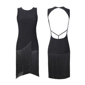 Image 5 - 2020 라틴 댄스 드레스 여성 살사 드레스 탱고 룸바 섹시한 프린지 드레스 성인 볼룸 라틴 댄스 경연 대회 의상 DQS1205
