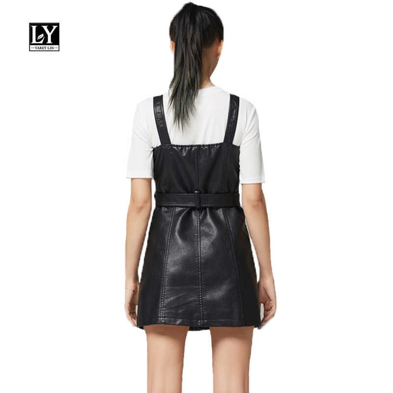 2020 החדש פו רך עור מיני שמלה סקסי תורו למטה צווארון Slim Pu אופנוע רוכסן רטרו שחור עור פאנק שמלה קיצית