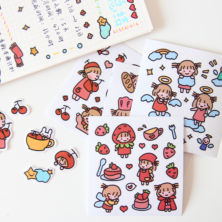 Cartoon Sweet Girl Label Sticker Simple DIY Cup Mobile Phone Shell Tablet PC Keyboard Small Decorative Sticker Kawaii Stationery