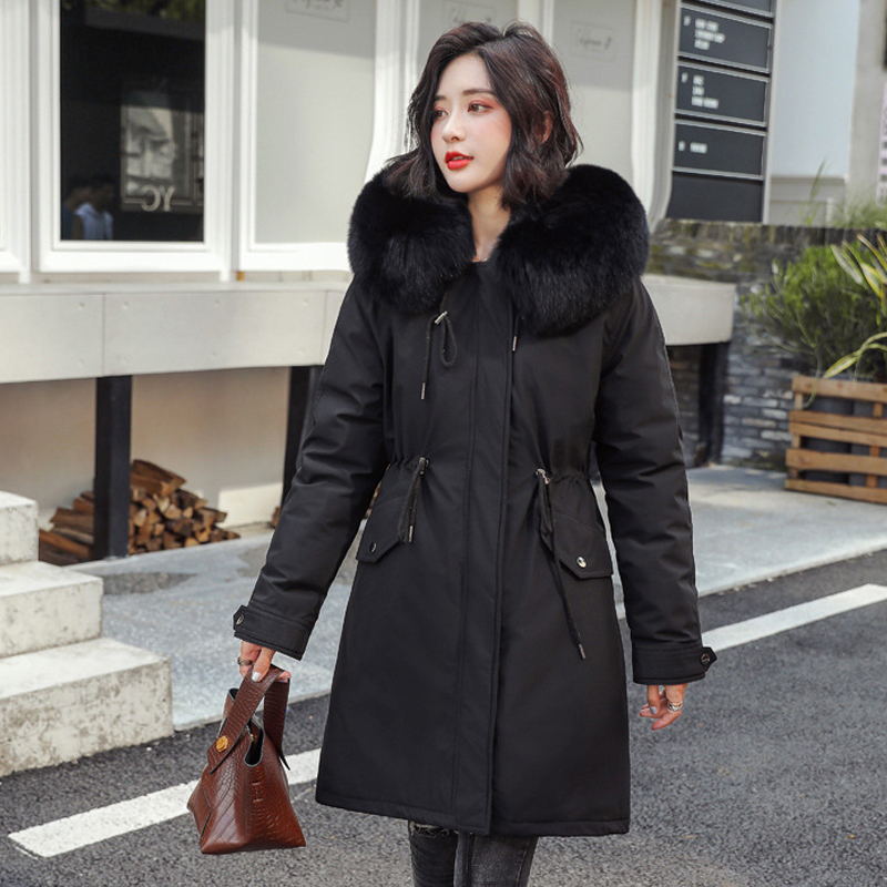 Image 3 - women long fur collar thick down coats slim hooded with pockets  zipper 2020 winter warm down jackets solid casual outwearDown Coats